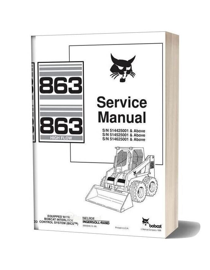 Bobcat 863 Skid Steer Loader Service Repair Workshop Manual