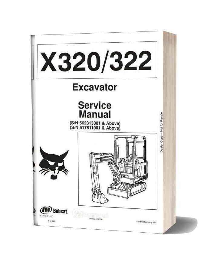 Bobcat Excavators 320 6724910 Service Manual 1 97