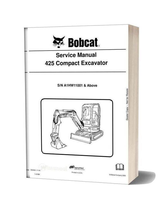 Bobcat Excavators 425 428 6904866 Service Manual 11 06
