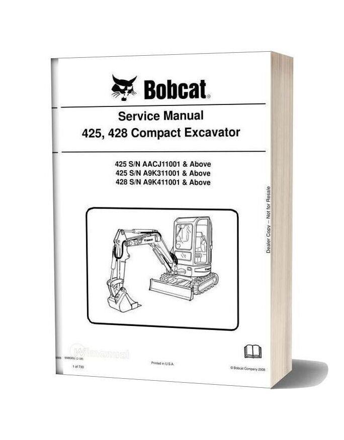 Bobcat Excavators 425 428 6986952 Service Manual 2 08