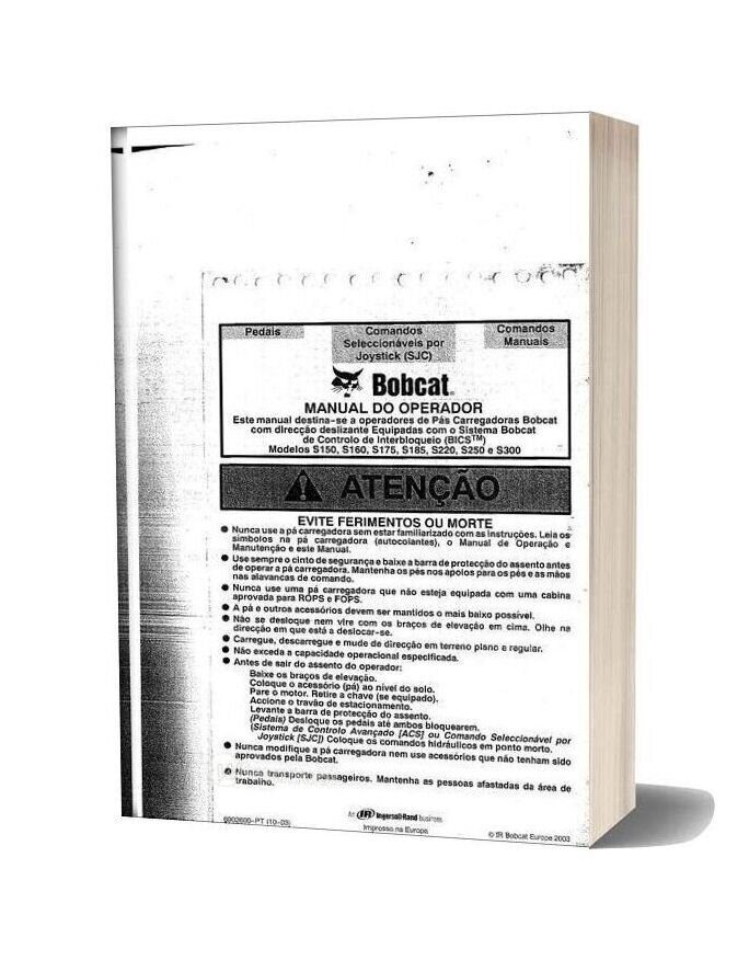 Bobcat S150 160 175 185 220 250 300 Operator Manual Spanish