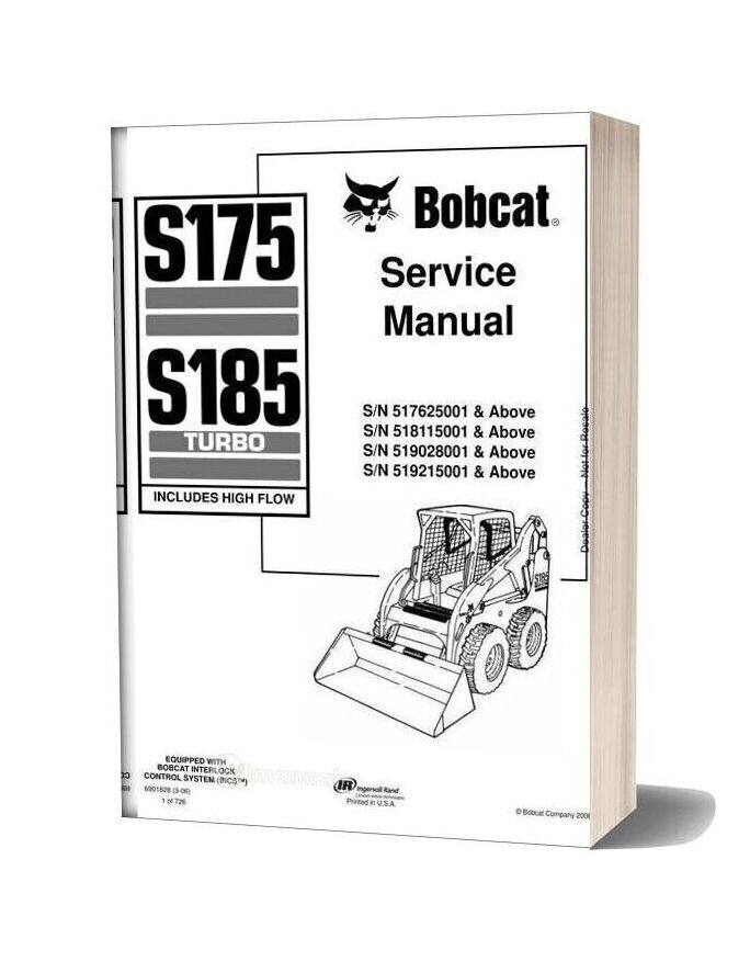 Bobcat S175 S185 Skid Steer Loader Service Manual 6901828