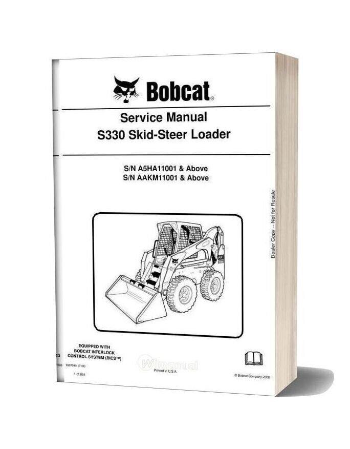 Bobcat S330 Hydraulic Excavator Service Manual 6987040
