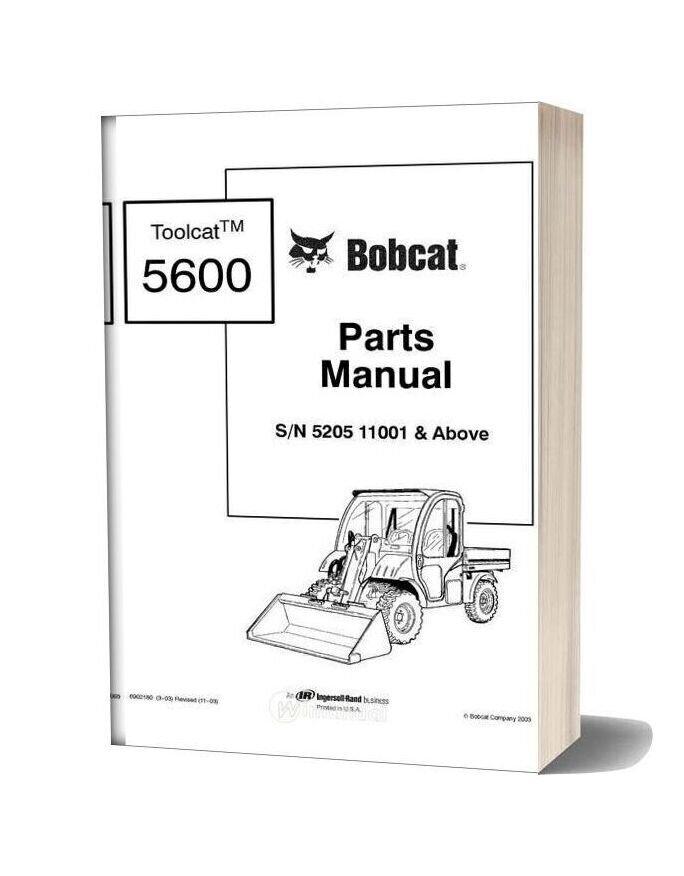 Bobcat Sn 5205 11001 Above Parts Manual