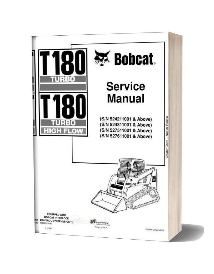Bobcat T180 Hydraulic Excavator Service Manual 6902502