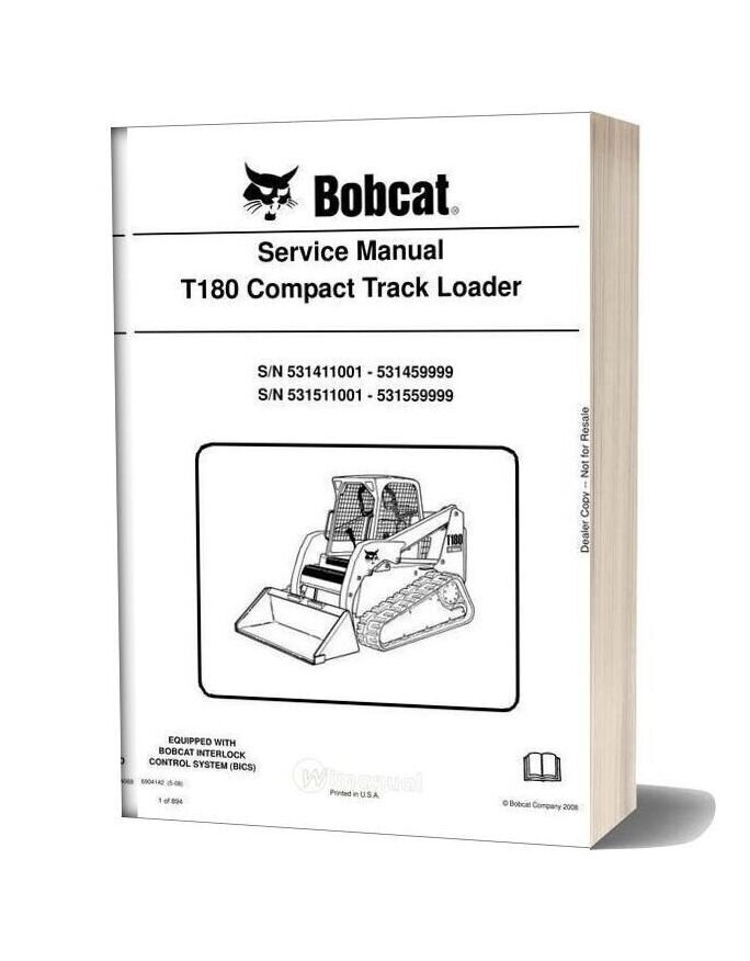 [DIAGRAM_38IU]  Bobcat T180 Hydraulic Excavator Service Manual 6904142 | T180 Bobcat Wire Diagram |  | WiManual