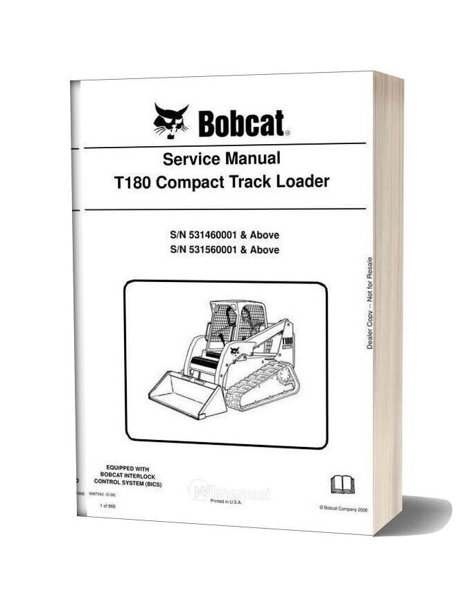 Bobcat T180 Hydraulic Excavator Service Manual 6987042