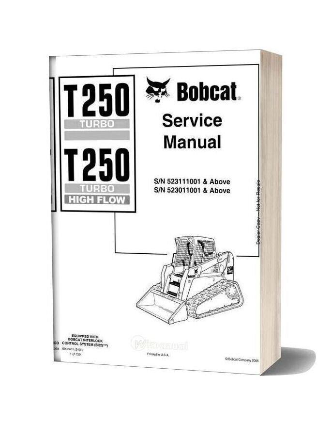 Bobcat T250 Hydraulic Excavator Service Manual 6902451