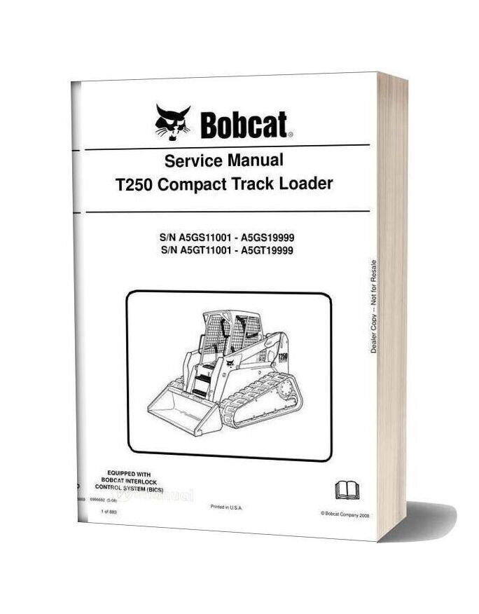 Bobcat T250 Hydraulic Excavator Service Manual 6986682