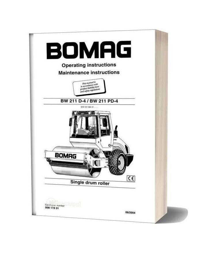Bomag Bw211d 4 Bw211pd 4 Operating Maintenance Instructions