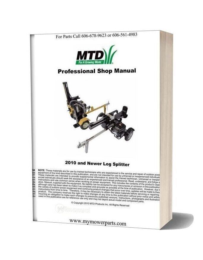Cadet 2010 And Newer Log Splitter Repair Manual Mtd Cub