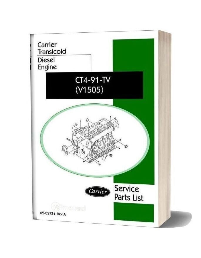 Carrier Ct4 91 Tv V1505 Diesel Engine Service Parts List
