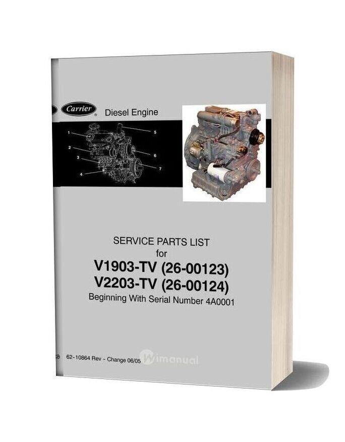 Carrier V1903 Tv 26 00123 V2203 Tv 26 00124 Diesel Engine Service Parts List