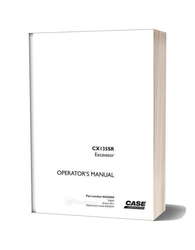 Case Crawler Excavator Cx135sr Operators Manual