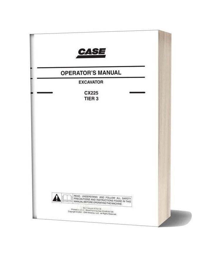 Case Crawler Excavator Cx225b Operators Manual