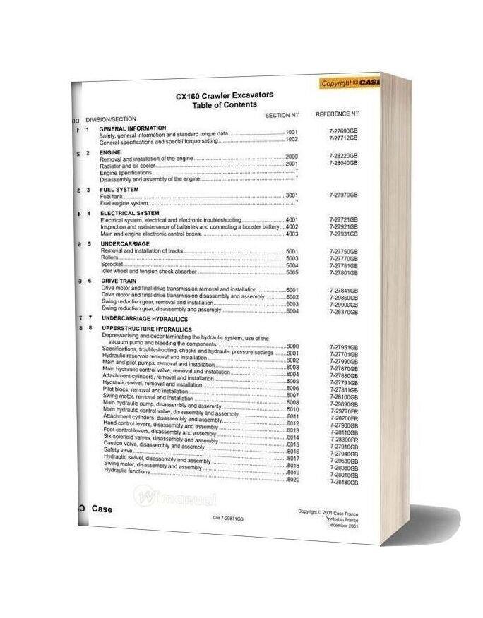 Case Cx160 Crawler Excavator Shop Manual