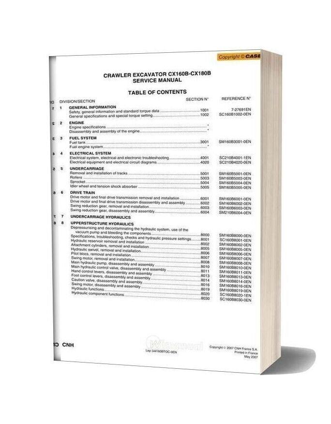 Case Cx160b Crawler Excavator Shop Manual