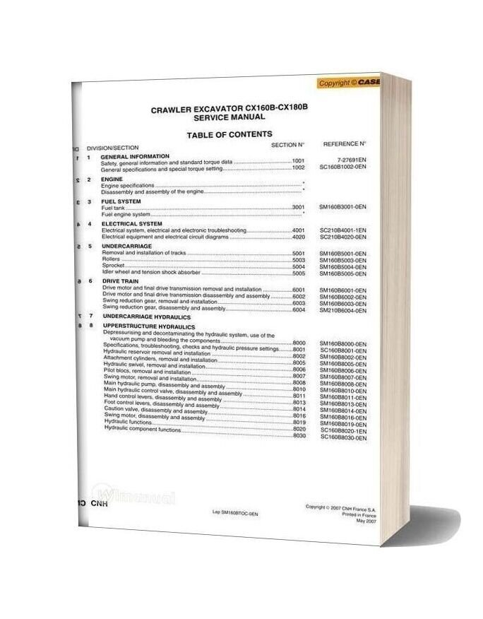 Case Cx180b Crawler Excavator Shop Manual