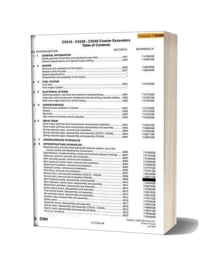 Case Cx210 Crawler Excavator Shop Manual