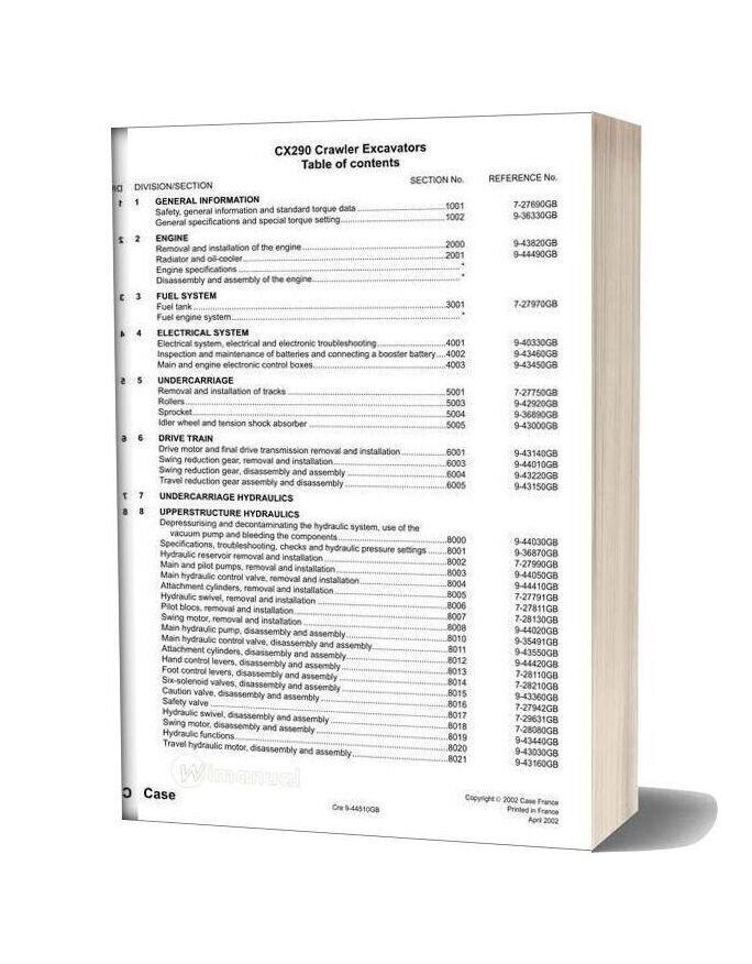 Case Cx290 Crawler Excavator Shop Manual