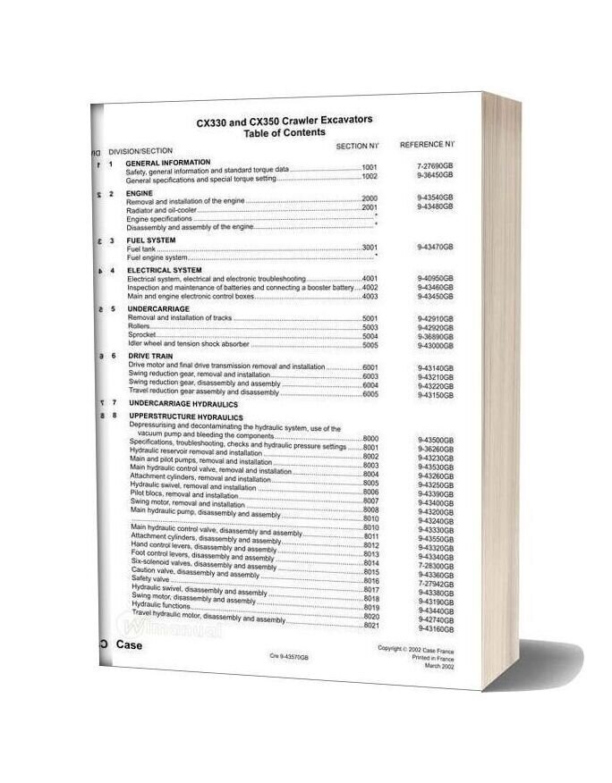 Case Cx330 350 Crawler Excavator Shop Manual