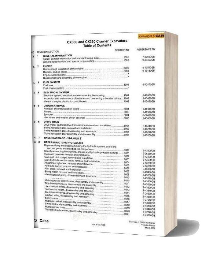 Case Cx330 Crawler Excavator Shop Manual