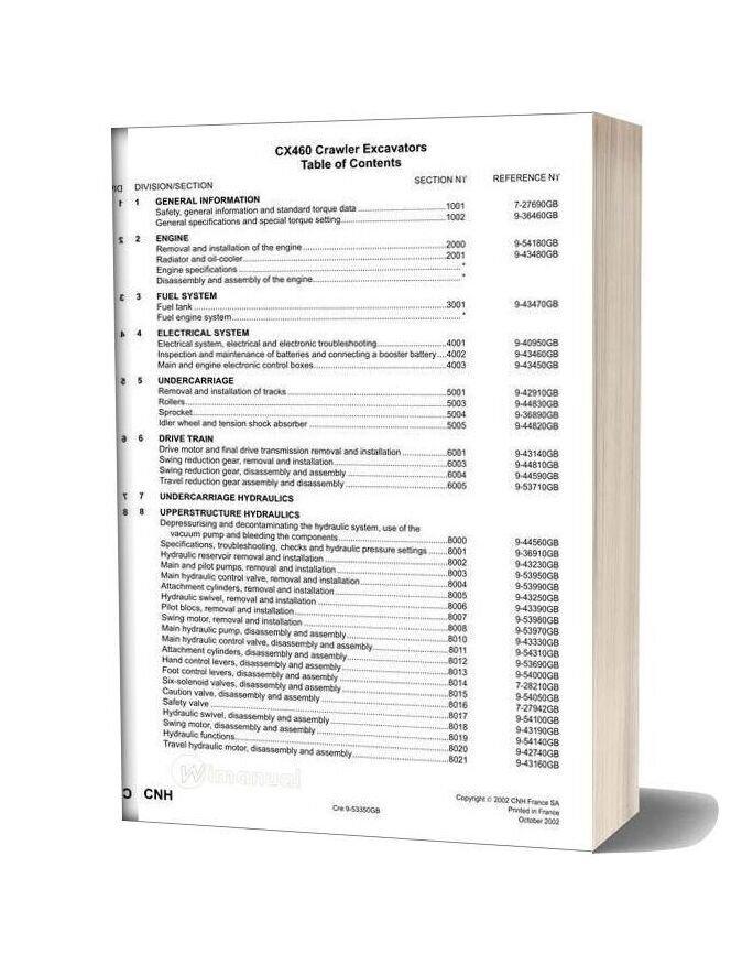 Case Cx460 Crawler Excavator Shop Manual Part 2