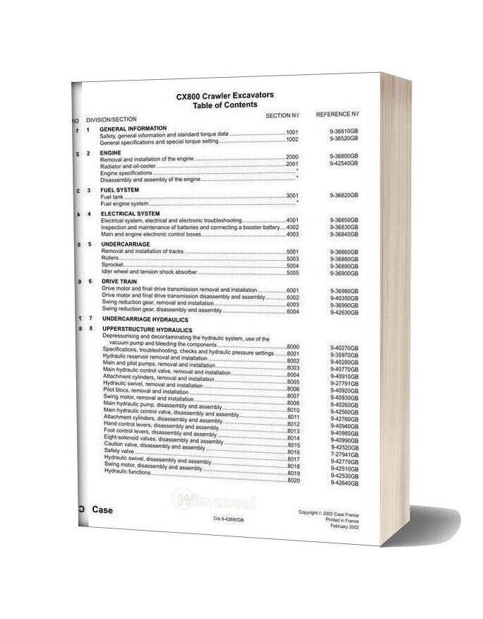 Case Cx800 Crawler Excavator Shop Manual