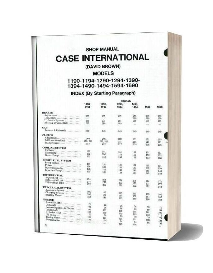 Case International 1190 1194 1290 1294 1390 1394 1490 1494 1594 1690 Shop Manual