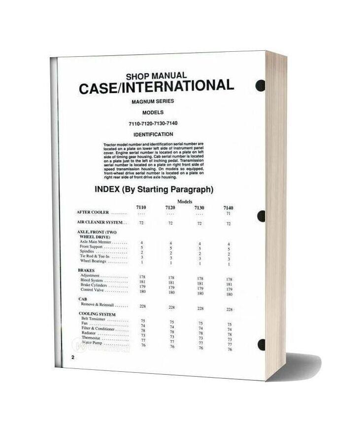 Case International 7110 7120 7130 7140 Shop Manual