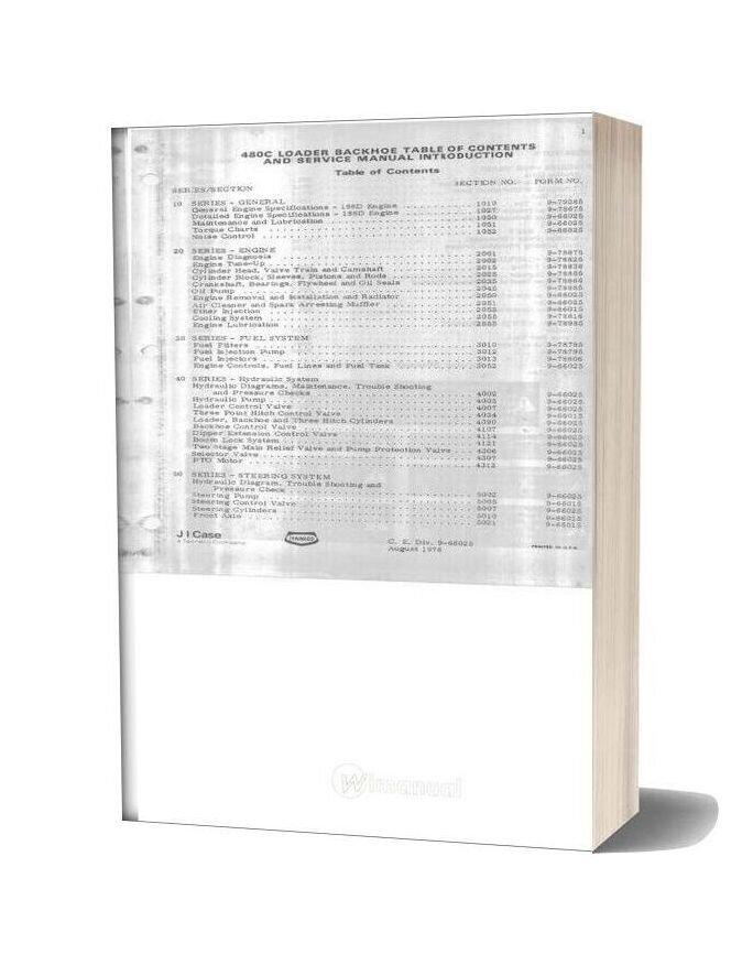 Case Loader Backhoe 480c Service Manual