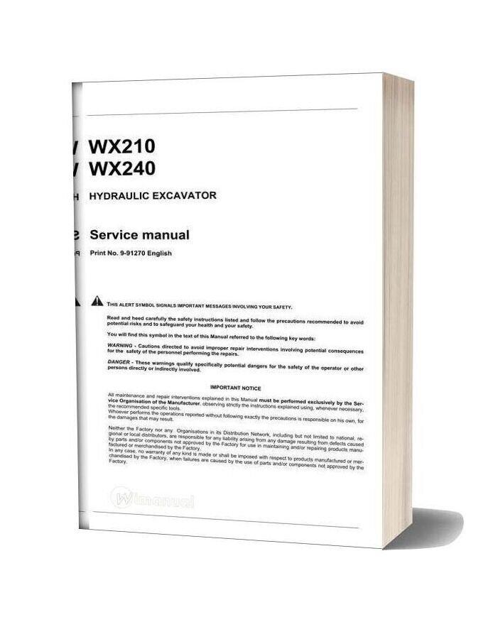 Case Wx210 240 Hydraulic Excavator Service Manual