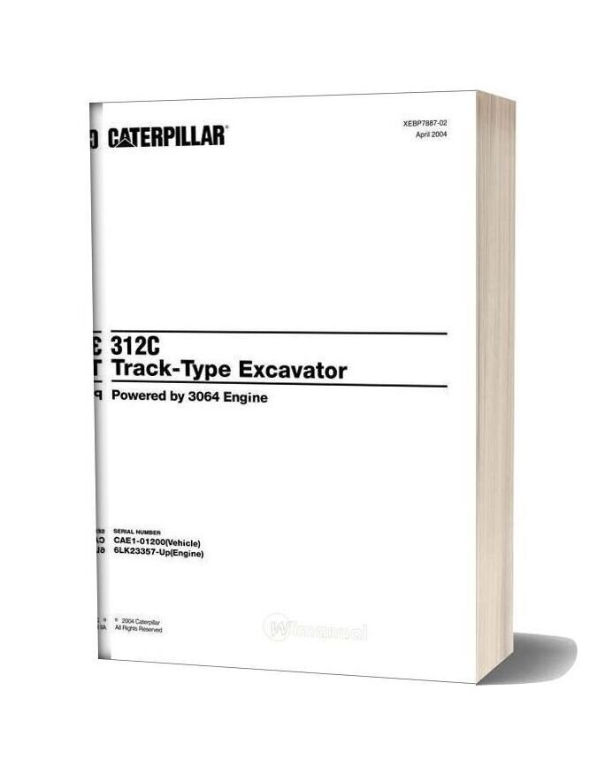 Caterpillar 312c Track Type Excavator Parts Manual Japonesa 2001