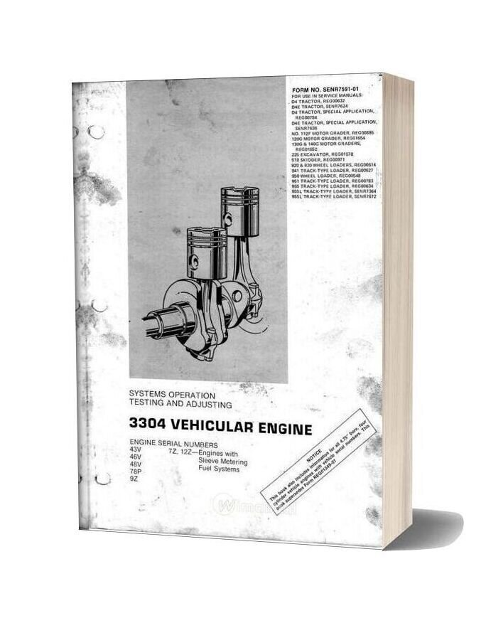 Caterpillar 3304 Vehicular Engine Service Manual