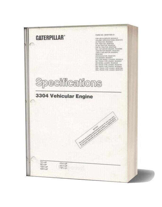 Caterpillar 3304 Vehicular Engine Specifications
