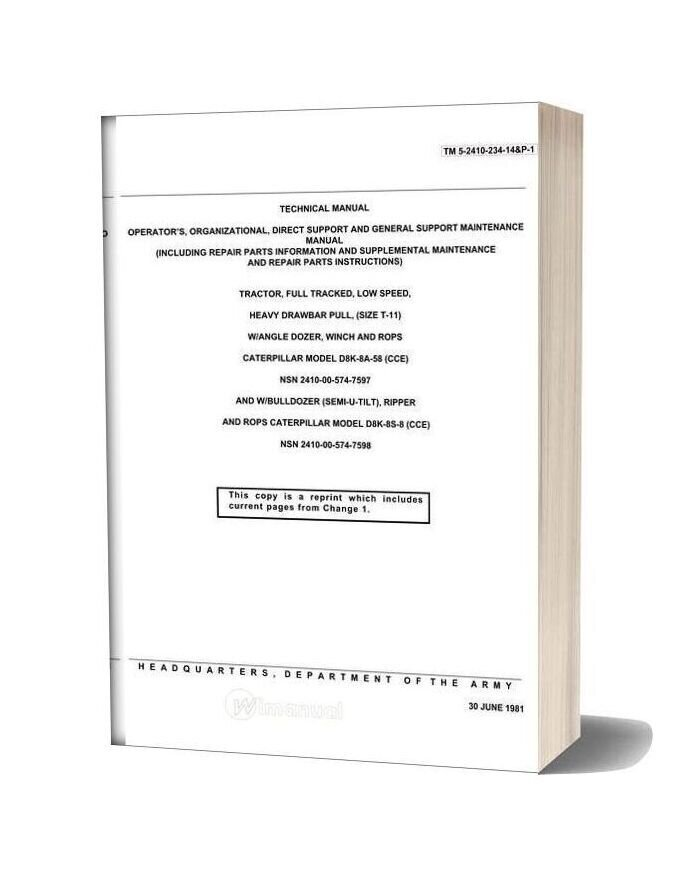 Caterpillar D8k 8a 58 Service Manual