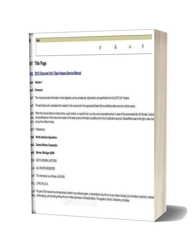 Chevrolet Volt Opel Ampera 2012 Service Manual