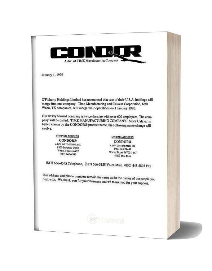 Condor Scissors Lift 3172 92275 Parts Book