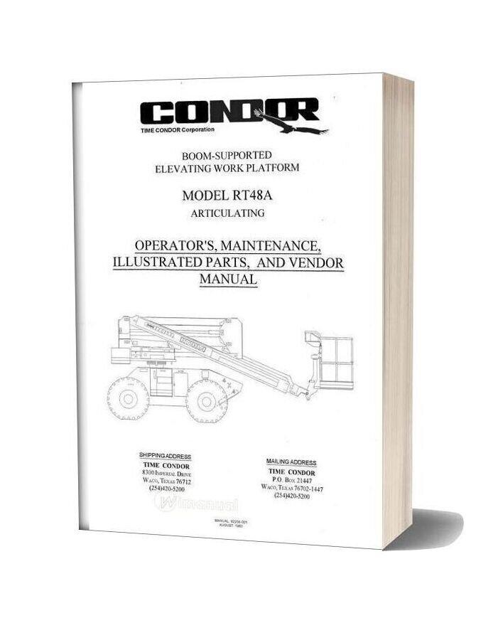 Condor Scissors Lift Rt48a 92258 Parts Book