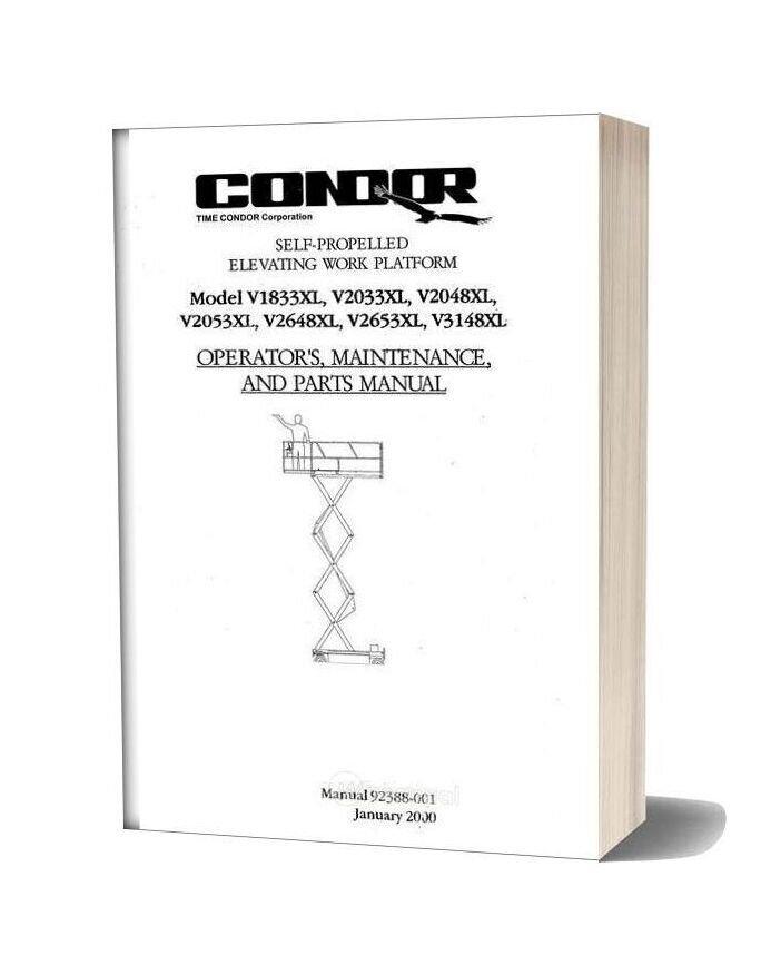Condor Scissors Lift V1833xl V2033xl 92388 Parts Book