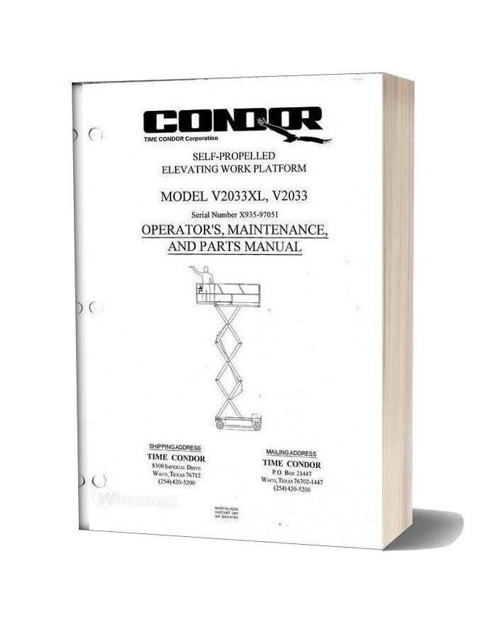 Condor Scissors Lift V2033xl 92350 Parts Book