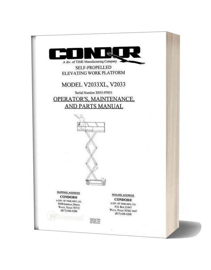 Condor Scissors Lift V2033xl Sn 97051 Parts Book