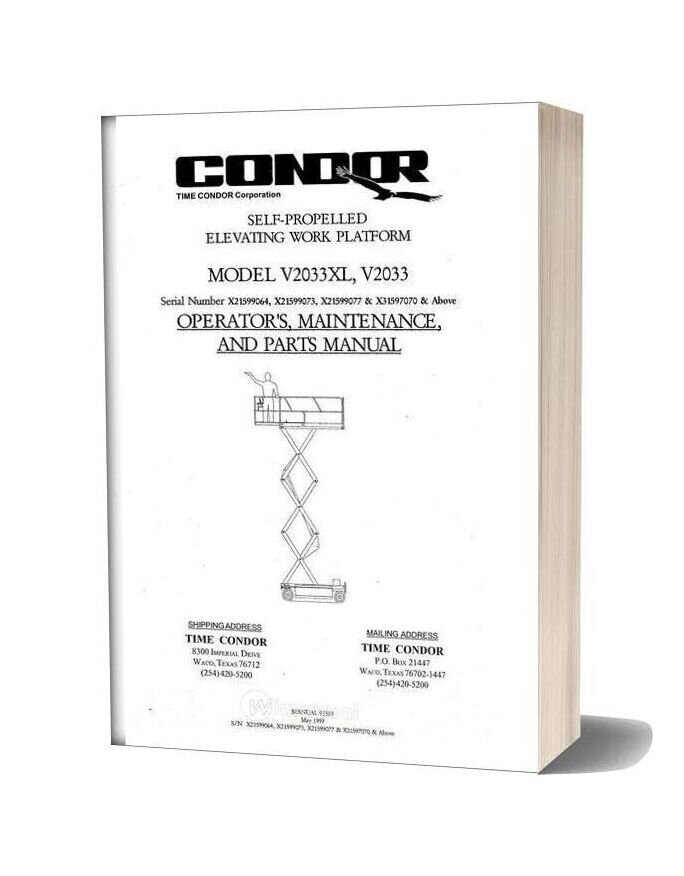 Condor Scissors Lift V2033xl Sn 97070 Parts Book