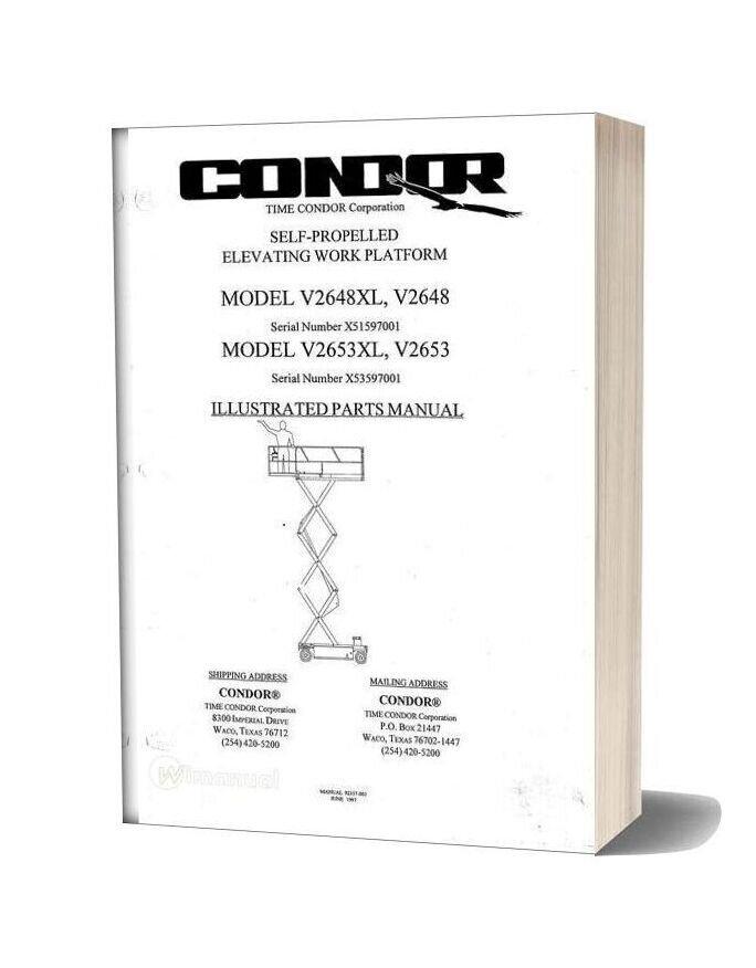 Condor Scissors Lift V2648xl V2653xl 92357 Parts Book