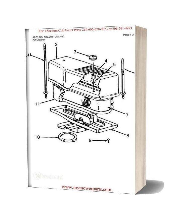 Cub Cadet Parts Manual For Model 1020 Sn 126001 207400