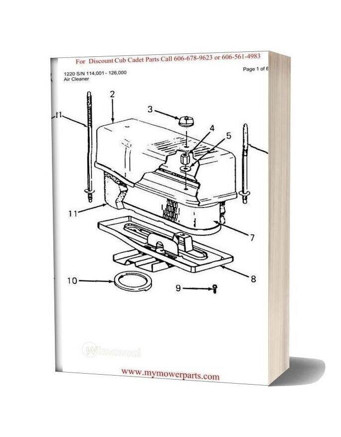 Cub Cadet Parts Manual For Model 1220 Sn 114001 126000