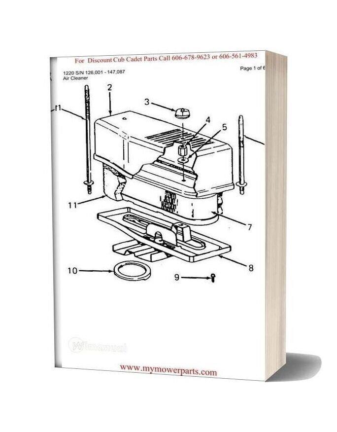 Cub Cadet Parts Manual For Model 1220 Sn 126001 147087