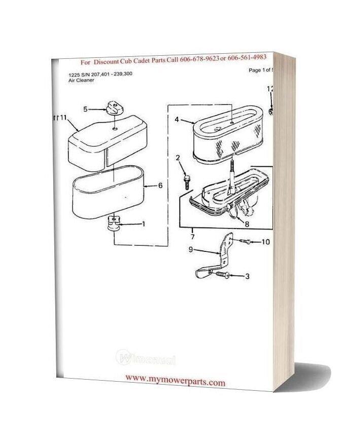 Cub Cadet Parts Manual For Model 1225 Sn 207401 239300