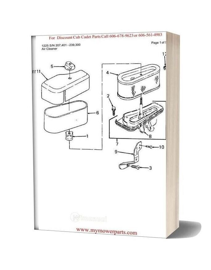 cub cadet 122 wiring diagram cub cadet parts manual for model 1225 sn 207401 239300  manual for model 1225 sn 207401 239300