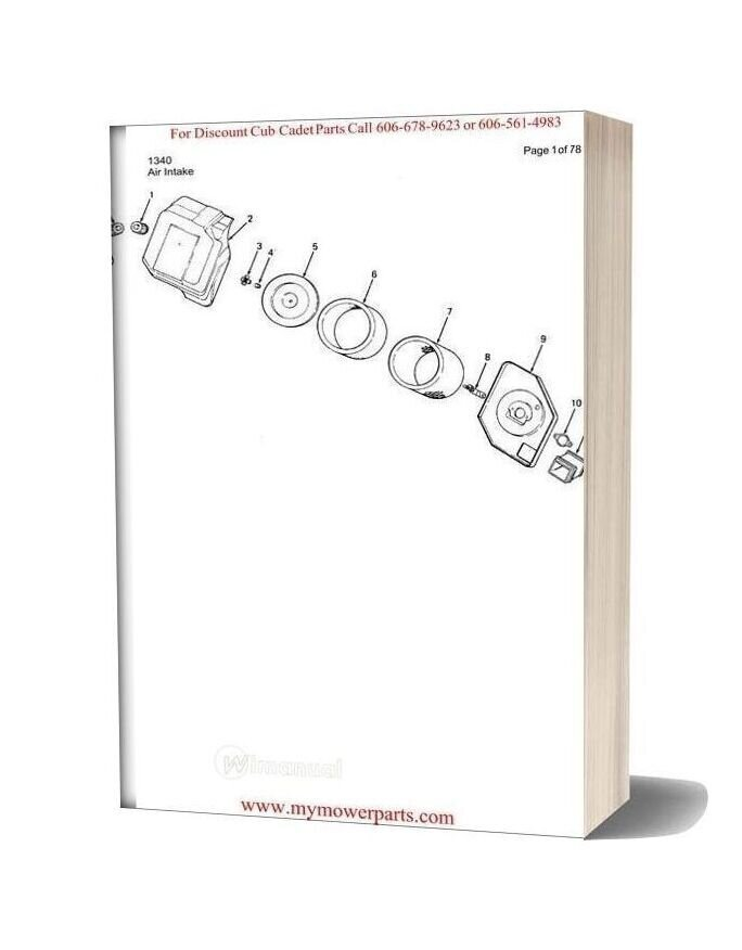 Cub Cadet Parts Manual For Model 1340